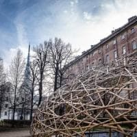 Torino, spunta una grande cupola di bambù nei giardini della Cavallerizza