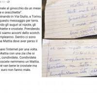 Torino, il biglietto d'auguri di zia Michelina con 50 euro scatena la caccia sui social