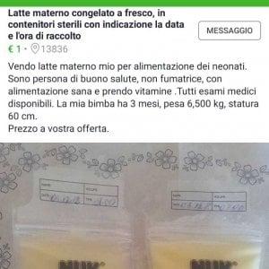 """Biella, mamma mette in vendita il suo latte congelato su un mercatino online: """"Un euro al litro"""""""