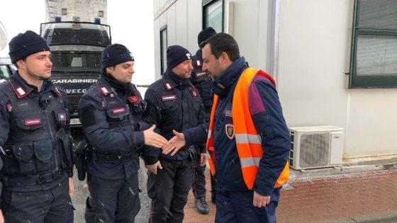 """Salvini nel cantiere Tav di Chiomonte: """"Io sono per andare avanti, saremmo gli unici a fermarci"""""""