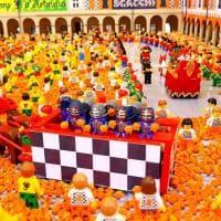 Ivrea, ecco la Battaglia delle arance ricostruita con 27mila mattoncini Lego