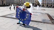 L'Inno alla gioia  in piazza Castello  per la Festa dell'Europa
