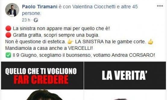 """Vercelli, fotomontaggio sessista del leghista Tiramani contro la candidata Pd. Lei: """"È un allarme per tutte le donne"""""""