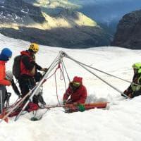 Breithorn, la ricerca dell'alpinista sul fondo del crepaccio