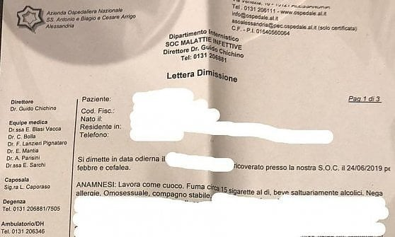 """""""Omosessuale"""": scritto sul referto medico, è bufera sull'ospedale di Alessandria"""