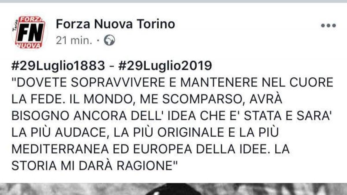 Torino, Forza Nuova su Facebook ricorda il compleanno di Mussolini