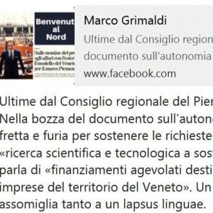 Piemonte nel dossier per l'autonomia Cirio chiede finanziamenti...per il Veneto