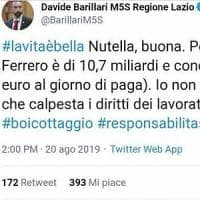 Il 5S Barillari attacca la Nutella, Twitter non perdona: