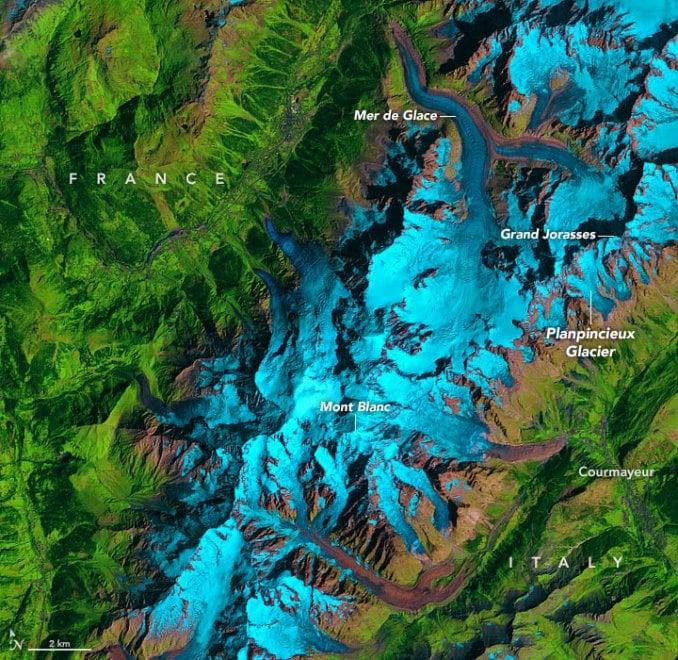 Nelle immagini Nasa il ritiro del ghiacciaio che incombe sulla val Ferret