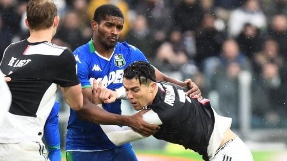 Juventus-Sassuolo 2-2, non basta Ronaldo: i bianconeri perdono la vetta
