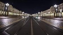 Luci sui simboli di Torino nelle notti senza gente
