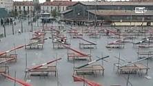 Vista da un drone  Porta Palazzo deserta   di ALESSANDRO CONTALDO