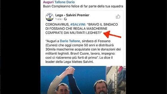 """La fake news di Salvini: """"A Fossano 30mila mascherine regalate dai leghisti"""". Ma sono donazioni al Comune"""