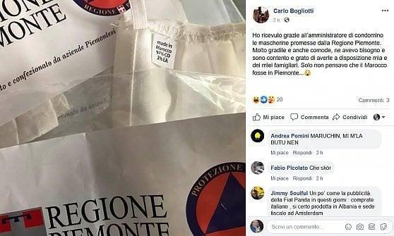 """Torino, le mascherine della Regione """"made in Piemonte"""" sono prodotte in Marocco. E impazzano sui social"""