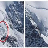 Val d'Aosta, crollano 15mila metri cubi di ghiaccio dal seracco Whymper