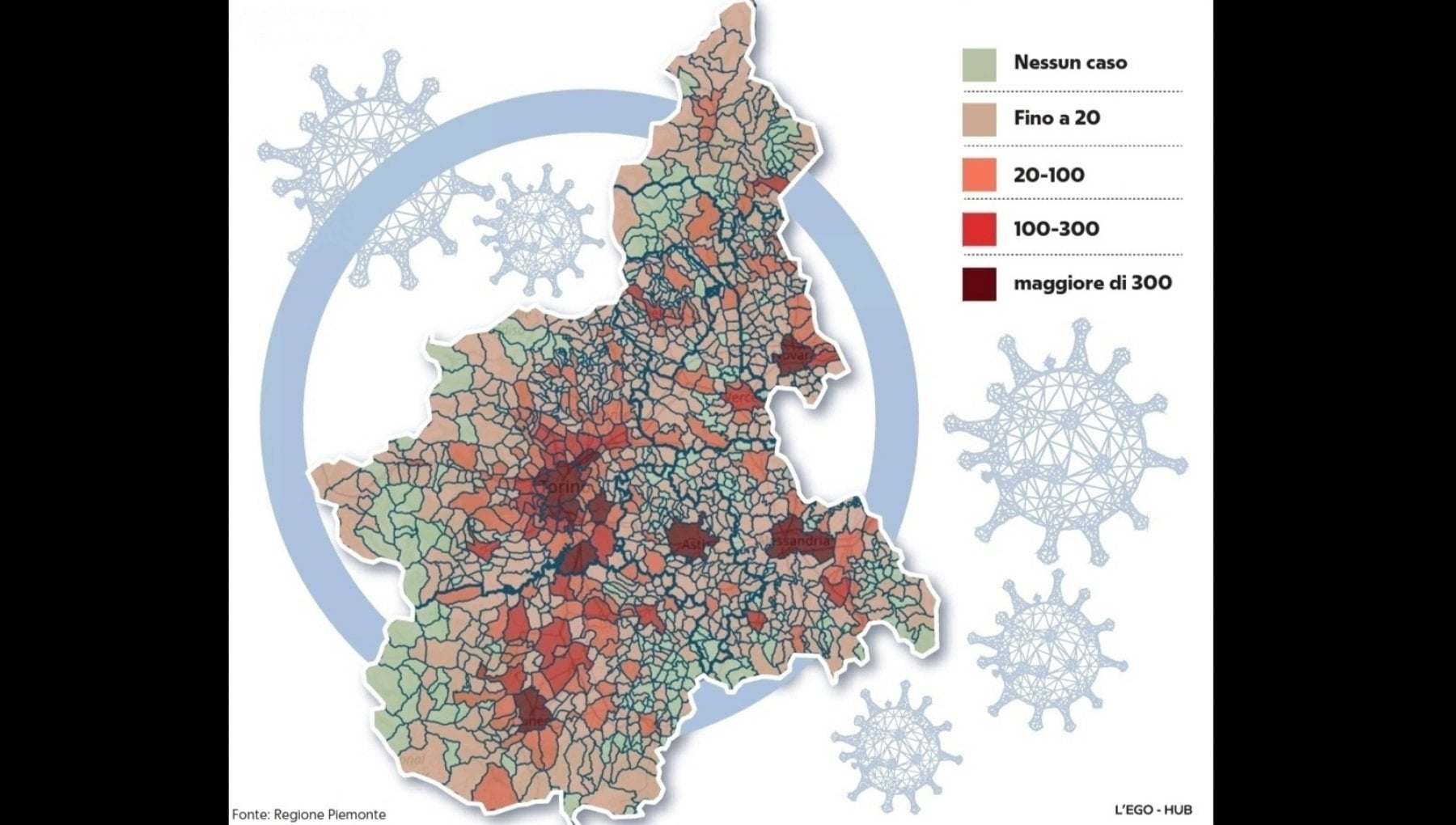 Cartina Piemonte Torino.La Mappa Dei Contagi In Piemonte Meno Di 200 I Paesi Immuni Al Virus La Repubblica