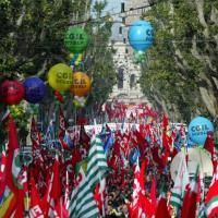 Lavoro, la manifestazione di Roma<br /> Cgil, Cisl e Uil insieme dopo 10 anni<br />&nbsp;