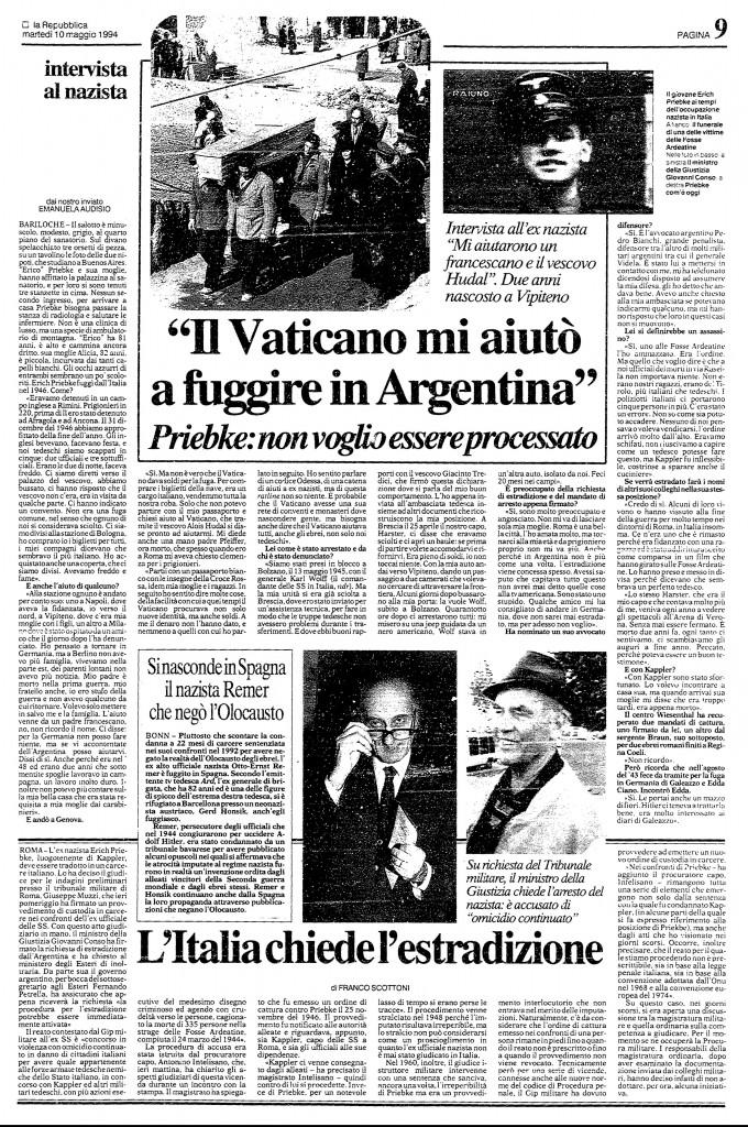 """La prima intervista di Erich Priebke nel '94: """"Il Vaticano mi aiutò a fuggire in Argentina"""""""