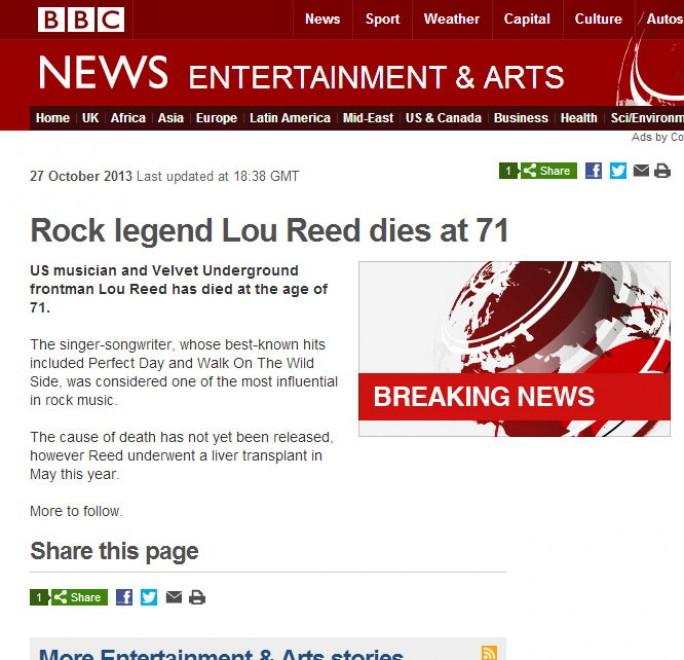 è morto Lou Reed, la notizia sui siti del mondo