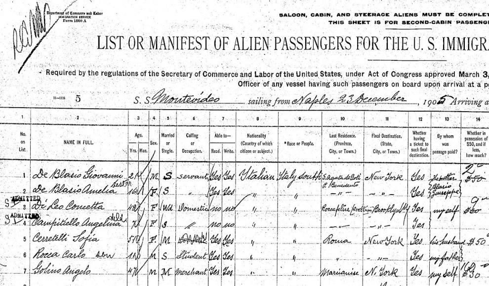 Bill de Blasio sindaco di New York: ecco i documenti di arrivo negli Usa dei nonni Giovanni e Anna