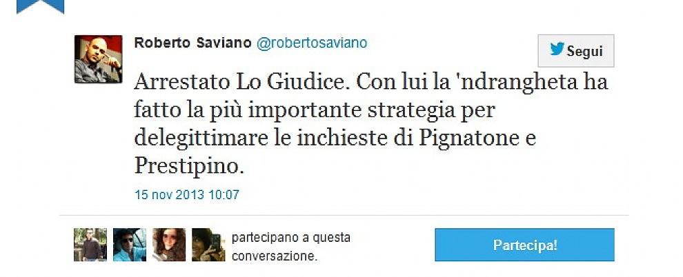 """Arresto Lo Giudice, Saviano: """"Stratega della delegittimazione"""""""