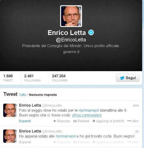 """Enrico Letta Twitter: Primarie Pd, Enrico Letta Su Twitter: """"Ho Votato, C'era"""