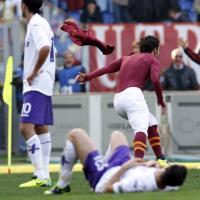 Roma, la gioia di Destro dopo il gol