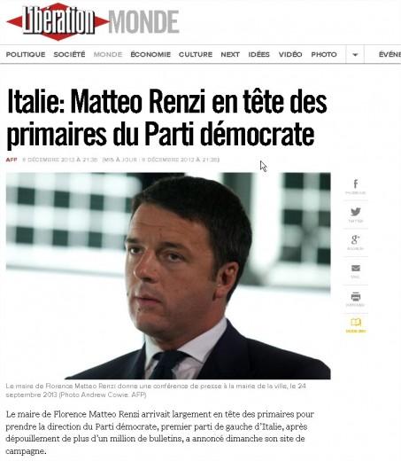 Primarie Pd, Renzi nuovo segretario: la notizia sui siti stranieri