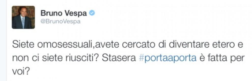 Gay, gaffe su Twitter di Bruno Vespa