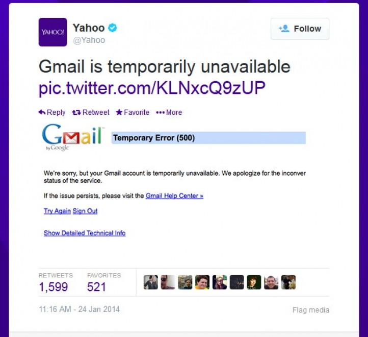Gmail va giù, Yahoo twitta la foto del down. Poi le scuse
