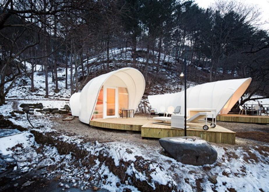 Glamping in sud corea la tenda da campeggio di lusso for Piani di fattoria di lusso