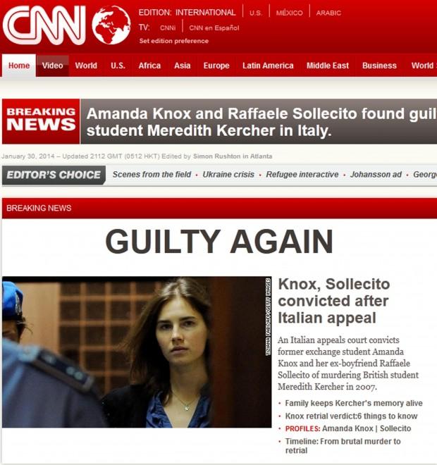 Amanda Knox condannata: la notizia sui siti stranieri