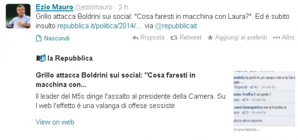 Grillo contro Boldrini, i tweet di Ezio Mauro