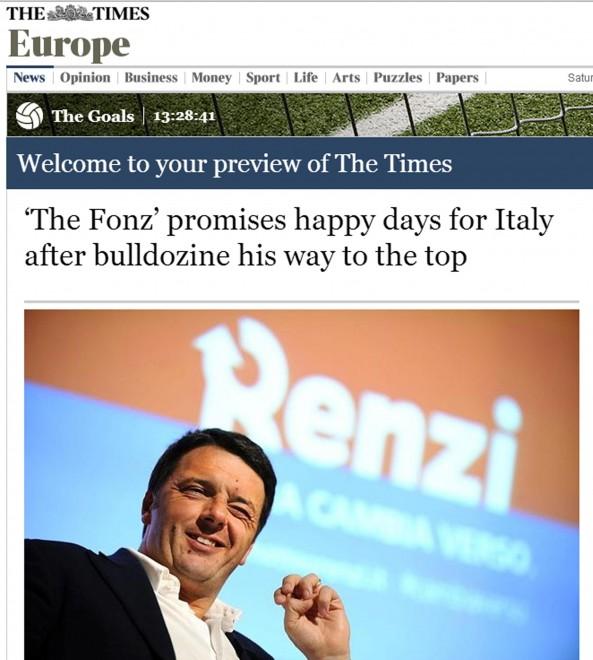 Governo: Renzi come Fonzie sulla stampa britannica