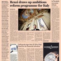 """""""Un'ambiziosa riforma per l'Italia"""", Renzi in prima pagina sul FInancial Times"""