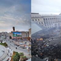 Kiev, piazza Maidan prima e dopo