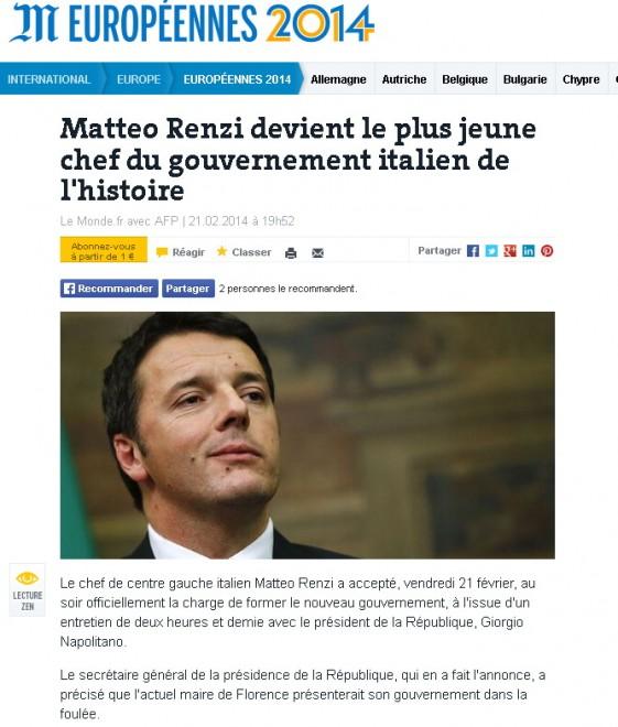 Governo renzi la notizia sui siti stranieri for Sito governo italiano