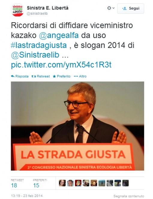 Alfano come Vendola, twitta #lastradagiusta e diventa il 'compagno Angelino'