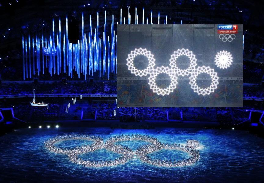 Sochi, l'autoironia nella cerimonia: anche il cerchio umano non si apre