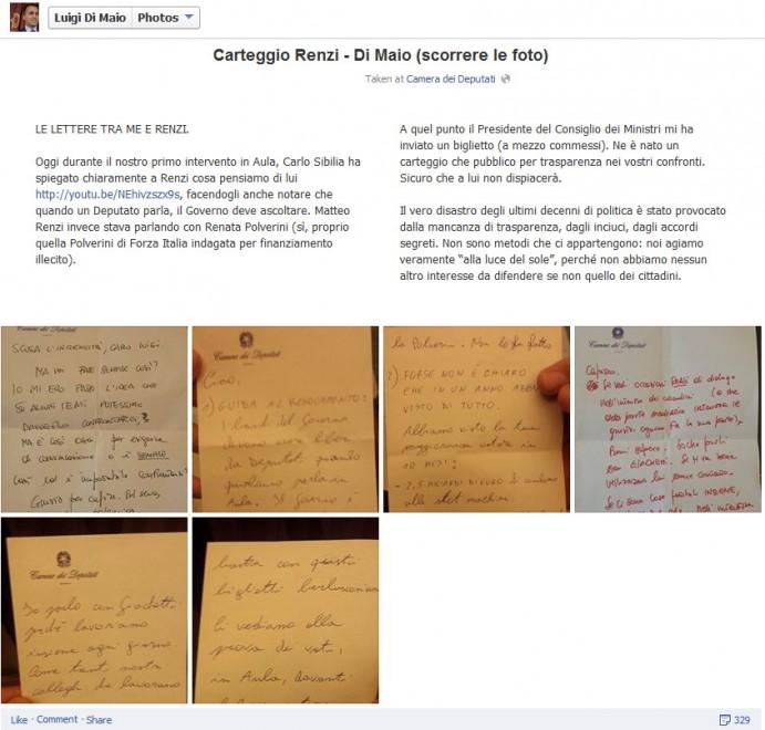 Governo, Di Maio pubblica su Facebook il ''carteggio'' con Renzi