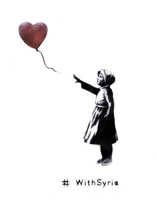 Banksy, la bambina col palloncino diventa una rifugiata siriana