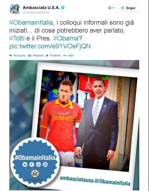Obama incontra Totti: l'ironia dell'Ambasciata Usa su Twitter