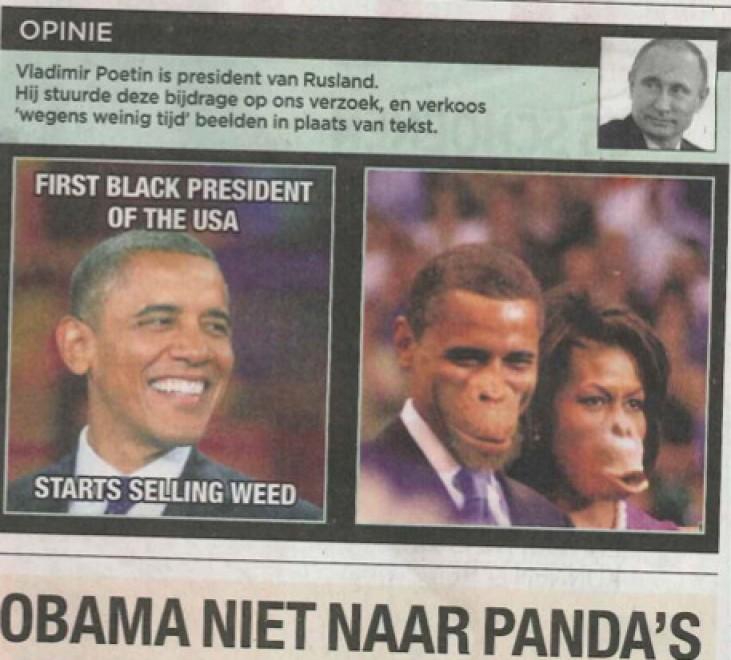 Belgio: Obama e Michelle come scimmie, polemiche sulla caricatura