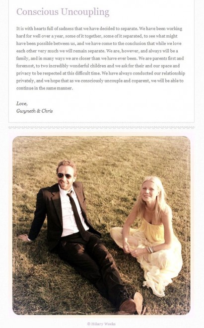 """""""Ci separiamo"""": l'annuncio di Gwyneth Paltrow e Chris Martin"""