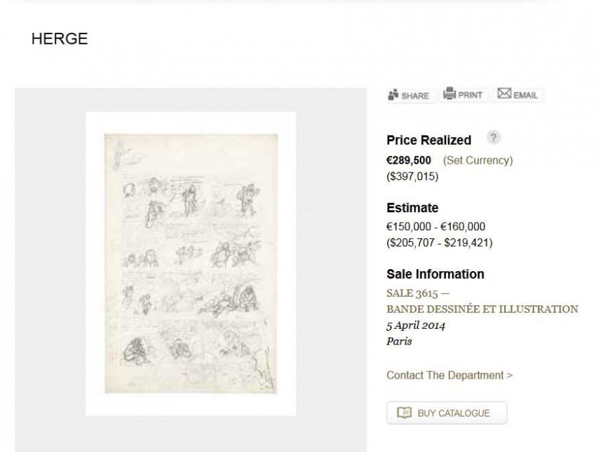 Record per la prima asta di fumetti: da Christie's 300mila euro per Tintin