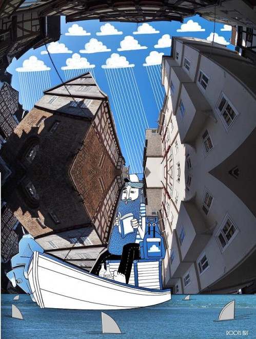 L'arte nel blu: Thomas disegna tra i palazzi