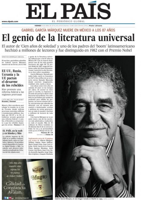 Addio Gabo, le prime pagine dal mondo