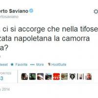 """Coppa Italia, Roberto Saviano su Twitter: """"Solo ora ci si accorge che comanda la camorra?"""""""