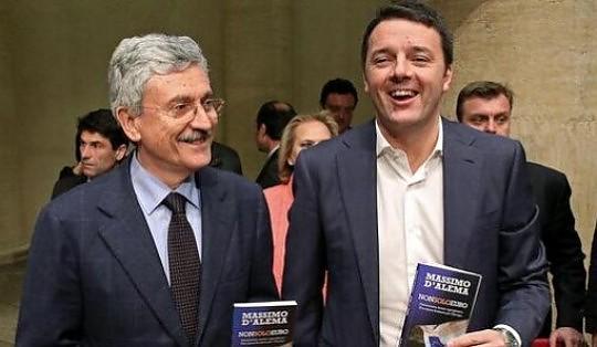 """Pd, D'Alema: """"Renzi leader, ma non si arriva al 40% senza un partito"""""""