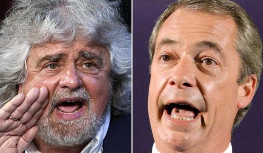 """Euroscettici, Farage a Grillo: """"Insieme possiamo causare un sacco di guai a Bruxelles"""""""